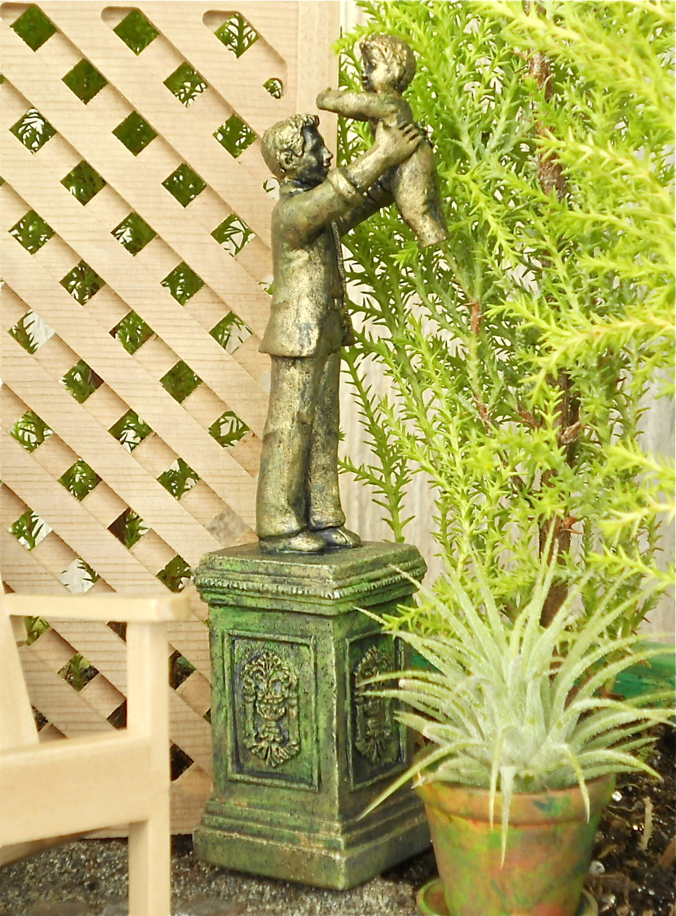 Miniature Garden Art: Good Dads are too few and should be on a pedestal too.