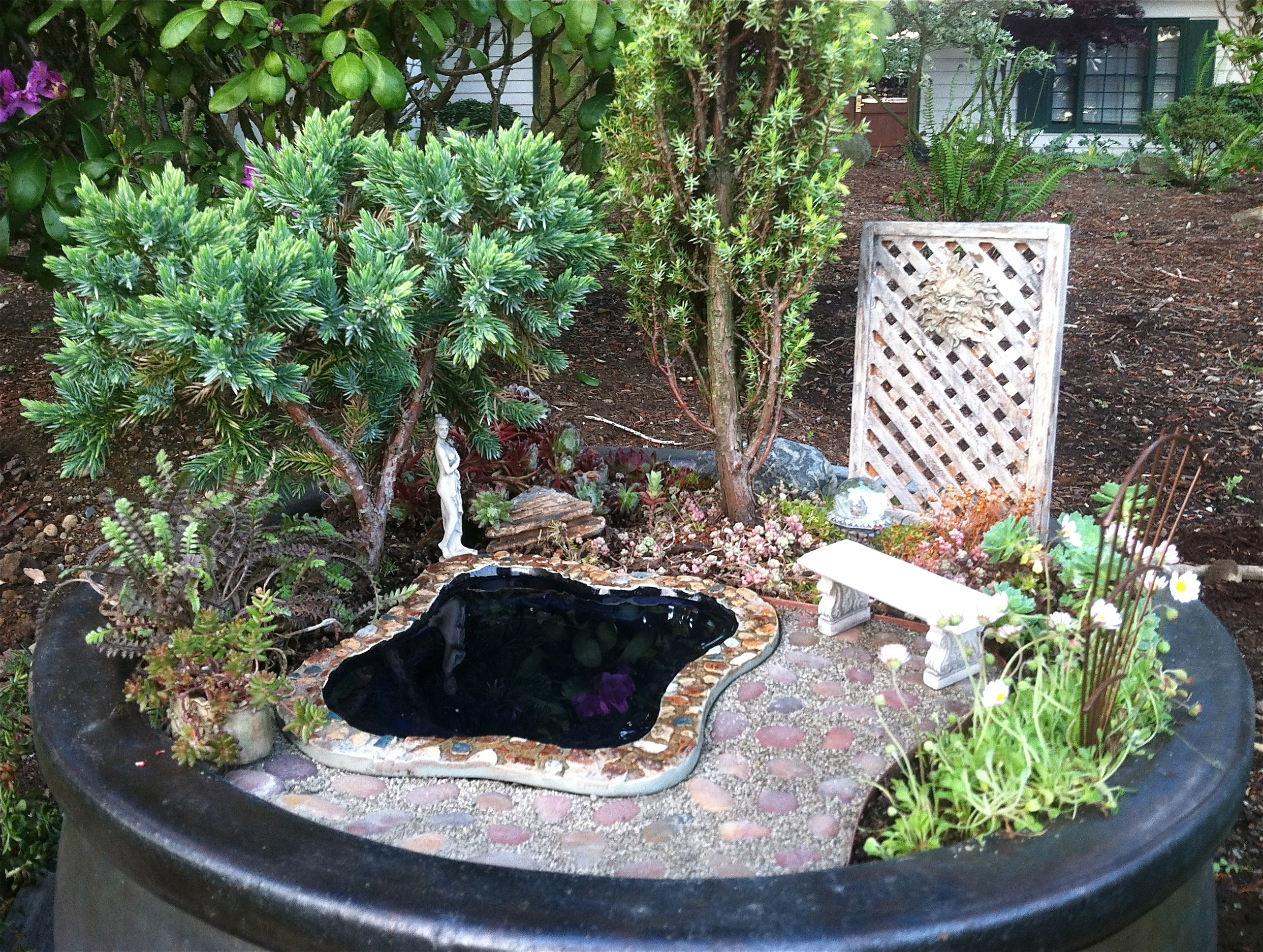 Miniature Garden with pond and trellis