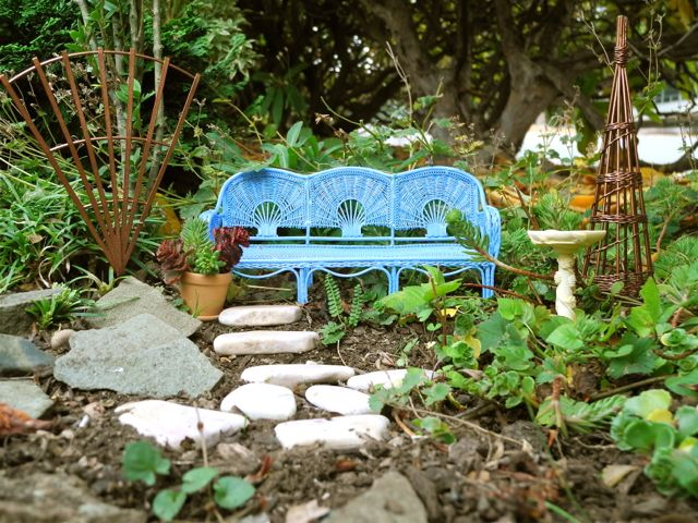 Blue Bench in the Miniature Garden