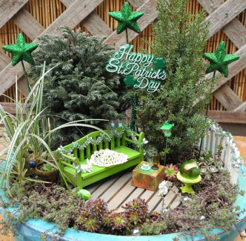 St. Patrick's Day in the Miniature Garden