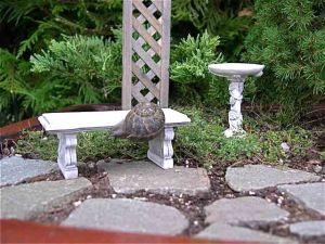 This Miniature Patio laid right in the soil is only temporary.